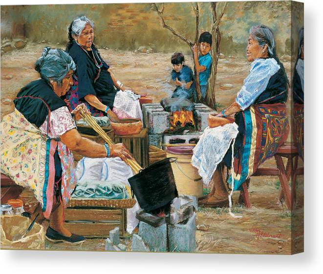 Native American Canvas Print featuring the painting Making Piki Bread by Jean Hildebrant