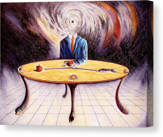 Surrealism Canvas Print featuring the painting Man attempting to comprehend his place in the Universe by Darwin Leon