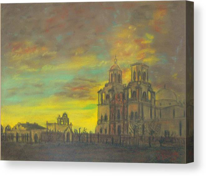 Sonoran Mission Canvas Print featuring the painting Mission San Xavier Del Bac by Dan Bozich