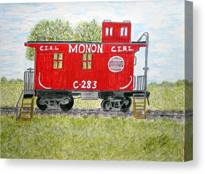 Monon Canvas Print featuring the painting Monon Wood Caboose Train C 283 1950s by Kathy Marrs Chandler