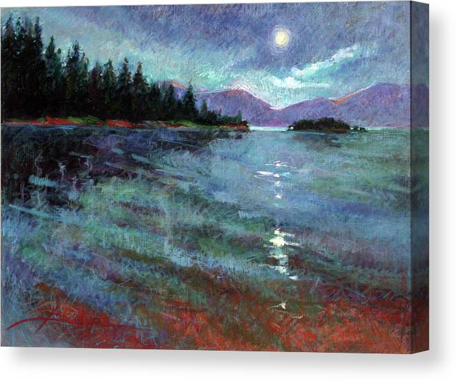 Murals Canvas Print featuring the painting Moon Over Pend Orielle by Betty Jean Billups