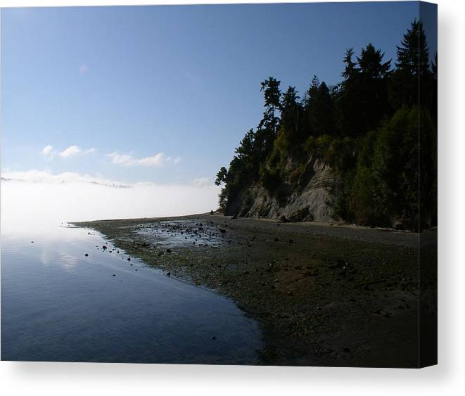 Water Canvas Print featuring the photograph Morning Fog Port Orchard WA by Valerie Josi