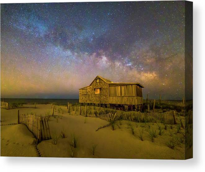 Milky Way Canvas Print featuring the photograph New Jersey Shore Starry Skies And Milky Way by Susan Candelario