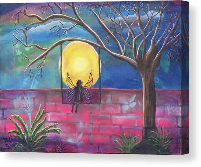 Tranquil Canvas Print featuring the painting Nighttime Escape by Mikki Alhart