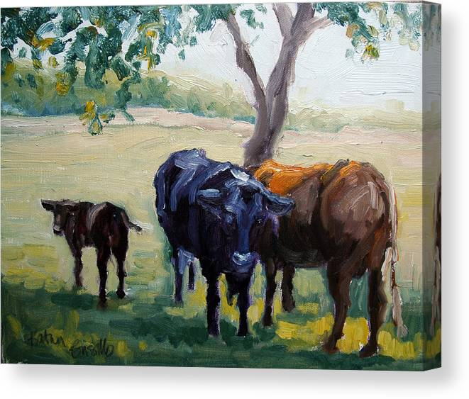 Cattle Canvas Print featuring the painting No Butts About It by Kathy Busillo