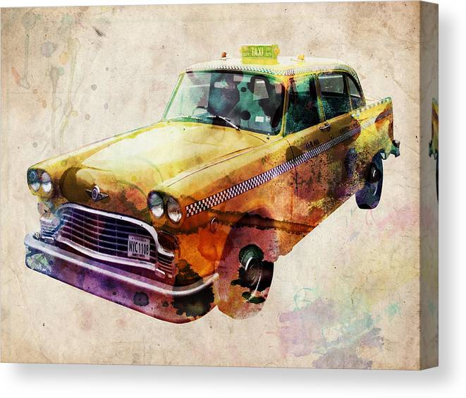 Nyc Canvas Print featuring the digital art NYC Yellow Cab by Michael Tompsett