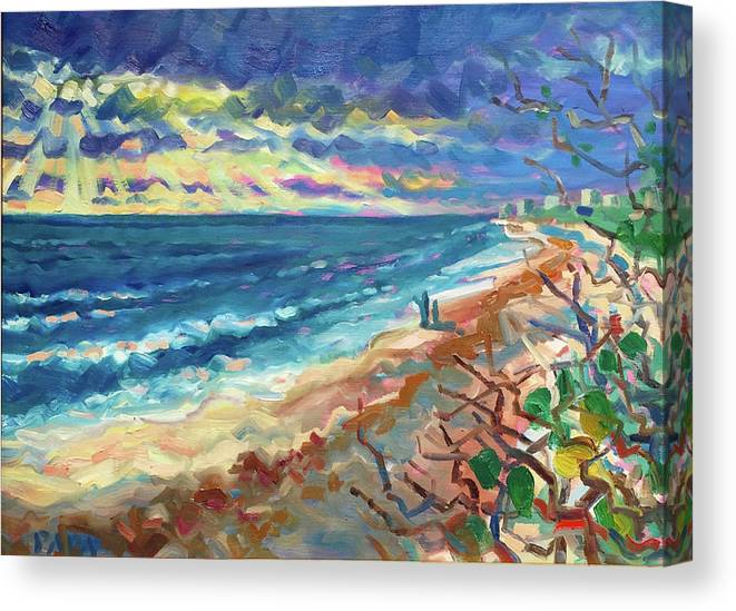 Atlantic Ocean Canvas Print featuring the painting Ocean View at Jupiter by Ralph Papa