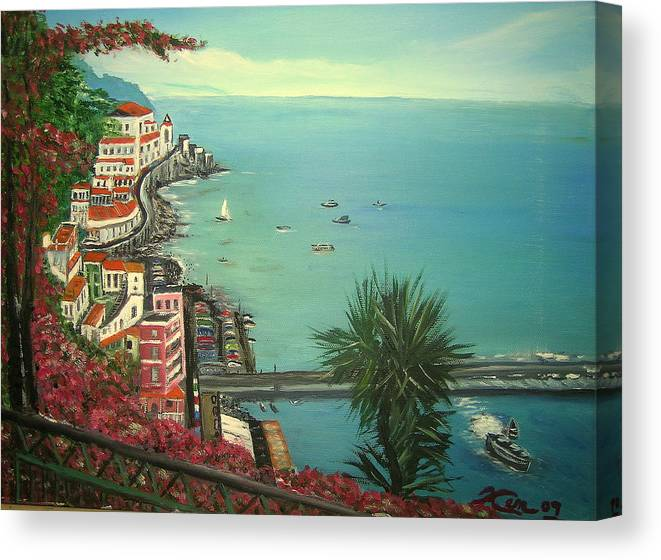 Ocean Canvas Print featuring the painting Ocean View by Kenneth LePoidevin