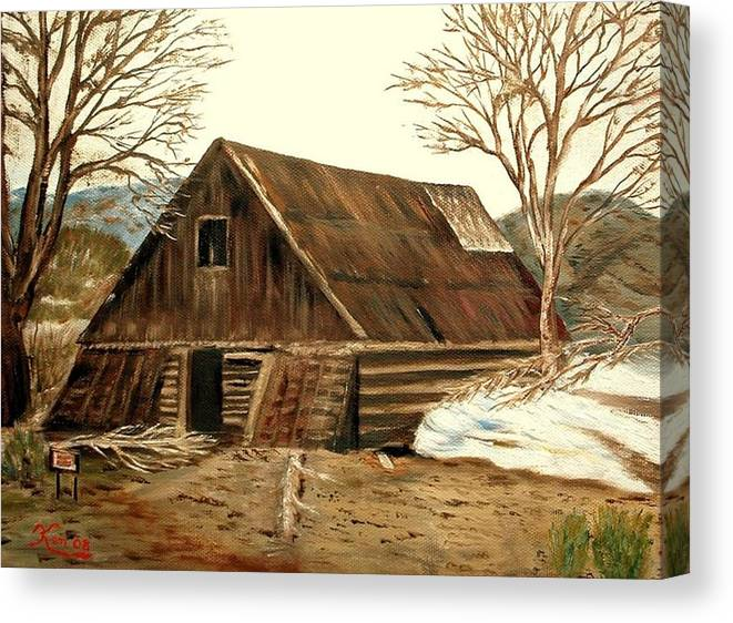 Barn Landscape Snow Canvas Print featuring the painting Old Barn series 1 by Kenneth LePoidevin