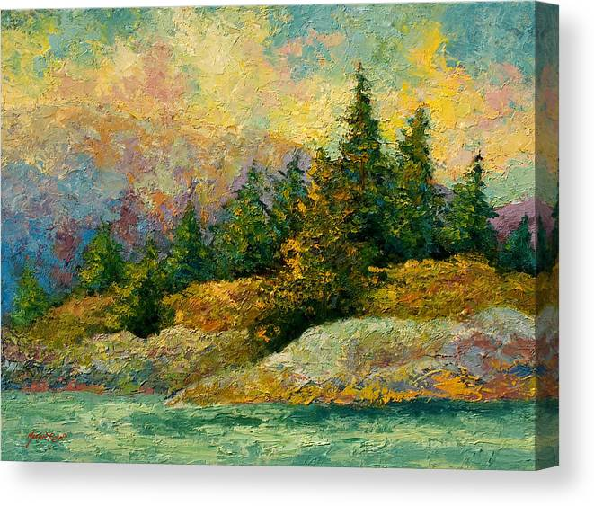 Alaska Canvas Print featuring the painting Pacific Island by Marion Rose