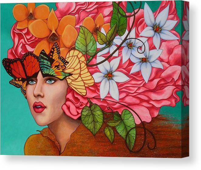 Woman Canvas Print featuring the painting Passionate Pursuit by Helena Rose