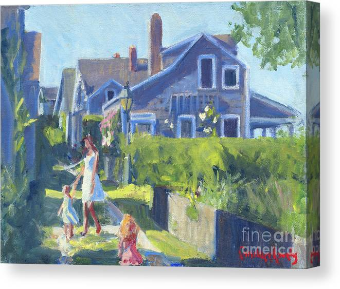 Playing On Front Street Canvas Print featuring the painting Playing On Front Street by Candace Lovely