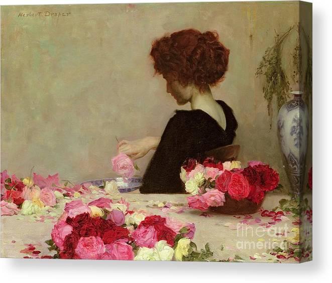 Female Canvas Print featuring the painting Pot Pourri by Herbert James Draper