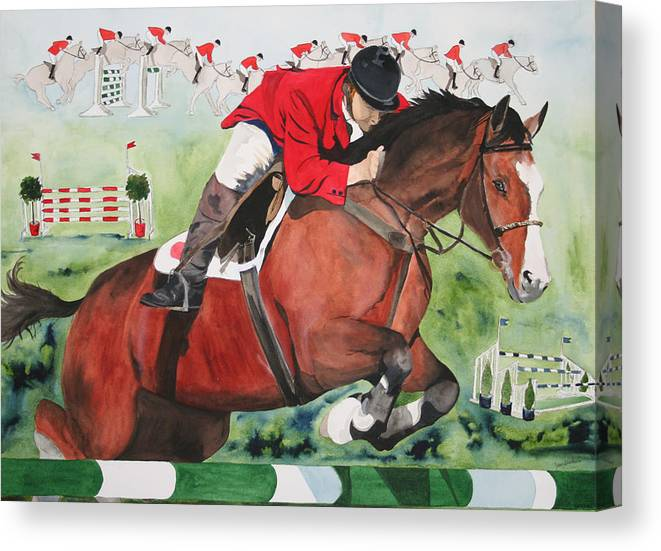 Horse Canvas Print featuring the painting Practice Makes Perfect by Jean Blackmer