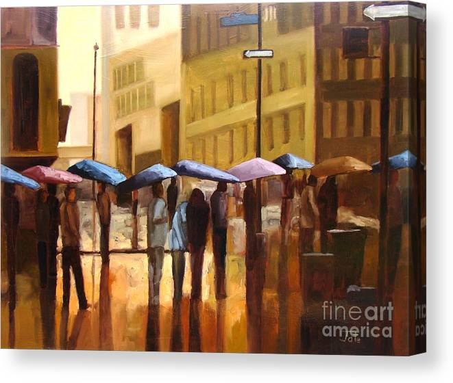 Cityscape Canvas Print featuring the painting Rain in Manhattan number seventeen by Tate Hamilton