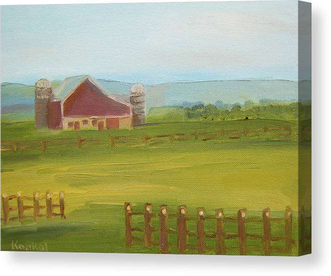 Konkol Canvas Print featuring the painting Red Barn by Lisa Konkol