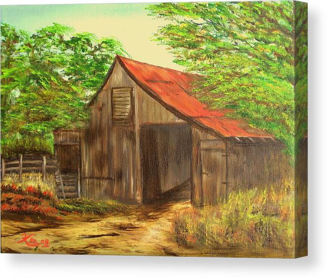 Landscape Canvas Print featuring the painting Red Roof Barn by Kenneth LePoidevin