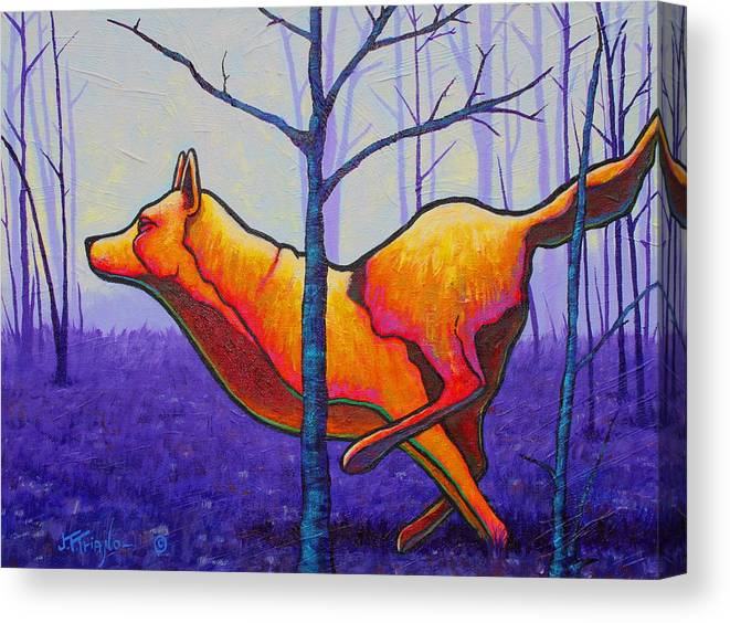 Canvas Print featuring the painting Running Free Red Wolf by Joe Triano