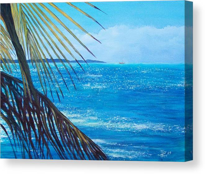 Seascape Canvas Print featuring the painting Salinas Seascape by Tony Rodriguez
