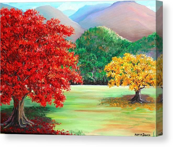 Flamboyant Tree Canvas Print featuring the painting Savannah Flamboyant by Karin Dawn Kelshall- Best