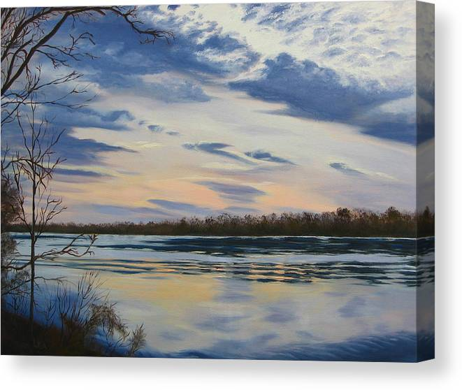 Clouds Canvas Print featuring the painting Scenic Overlook - Delaware River by Lea Novak