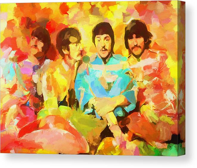 Sgt. Peppers Lonely Hearts Canvas Print featuring the painting Sgt. Peppers Lonely Hearts by Dan Sproul