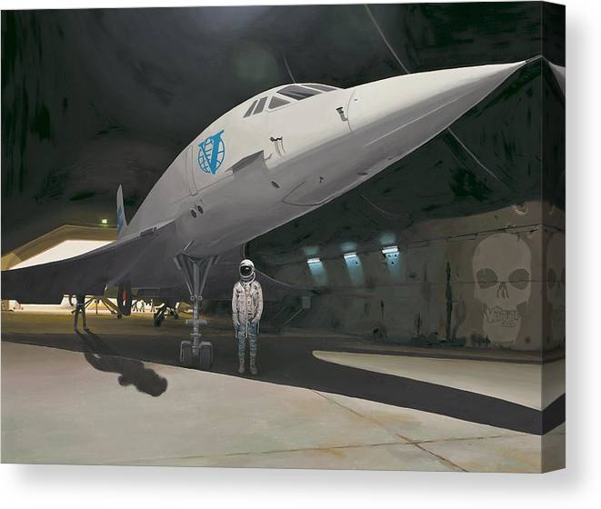 Astronaut Canvas Print featuring the painting Shadows of Dangerous Men by Scott Listfield