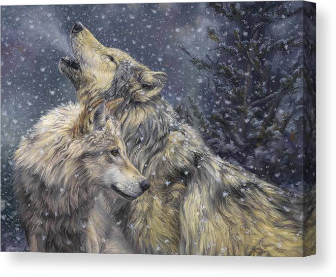 Wolf Canvas Print featuring the painting Snowfall by Lucie Bilodeau
