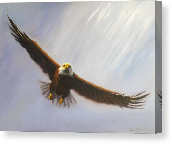 Oil Canvas Print featuring the painting Soaring Eagle by Greg Neal