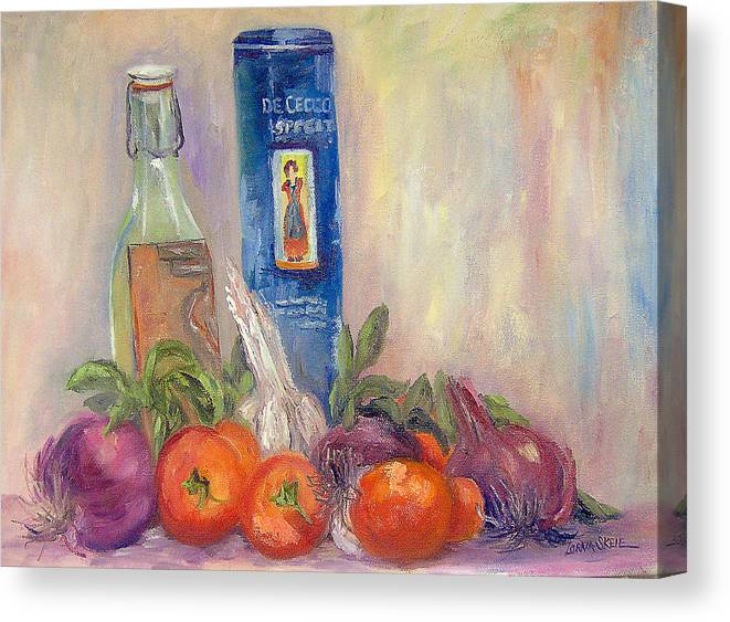 Still Life Canvas Print featuring the painting Spaghetti in the Raw by Lorna Skeie