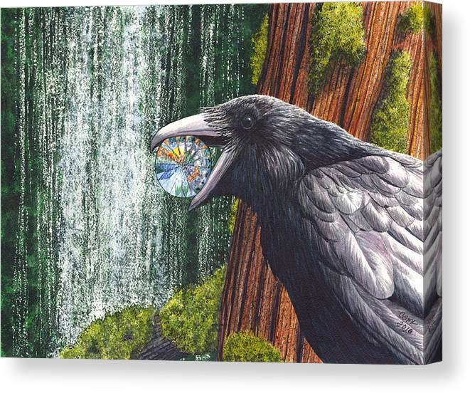 Raven Canvas Print featuring the painting Sparkle by Catherine G McElroy