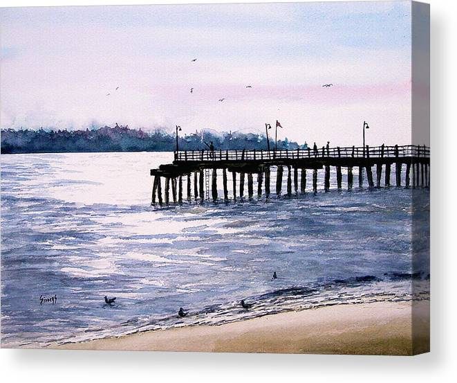 Fishing Canvas Print featuring the painting St. Simons Island Fishing Pier by Sam Sidders
