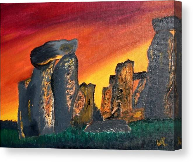 Landscape Canvas Print featuring the painting Stonehenge Sunrise by Warren Thompson
