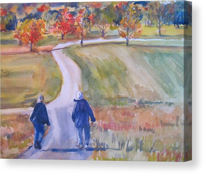 Landscape Canvas Print featuring the painting Storm King Stroll by Joyce Kanyuk