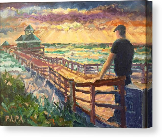 Juno Beach Canvas Print featuring the painting Sunrise at Juno Beach by Ralph Papa