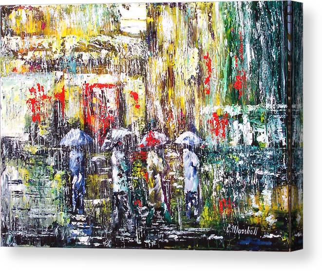 Art Canvas Print featuring the painting Sunrise City Rain by Claude Marshall