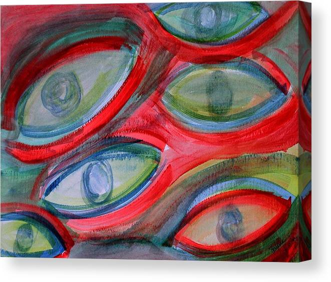 Eyes Canvas Print featuring the painting Swimming eyes by Margie Byrne