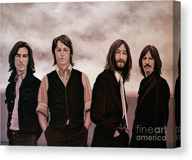 The Beatles Canvas Print featuring the painting The Beatles 3 by Paul Meijering