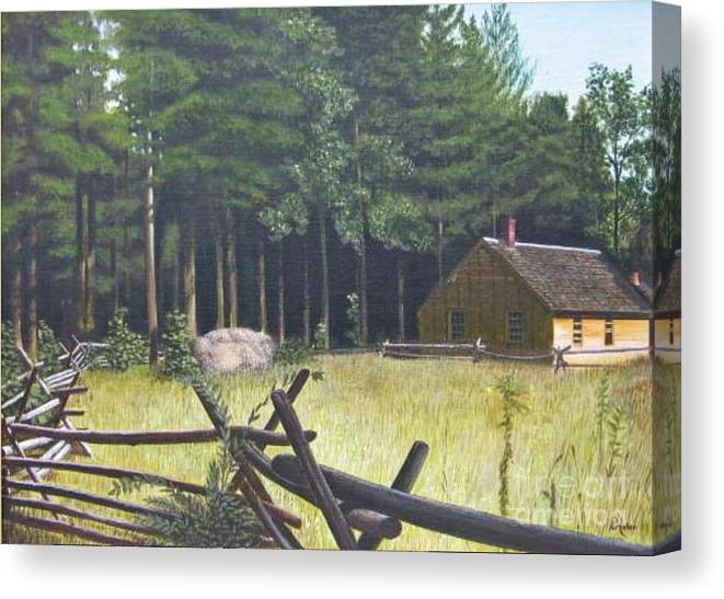 Landscape Canvas Print featuring the painting The District School House by Donald Hofer