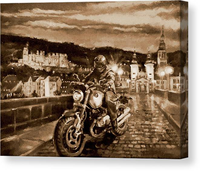 Sepia Painting Canvas Print featuring the painting The Knight of Heidelberg-Sepia by BJ Lane