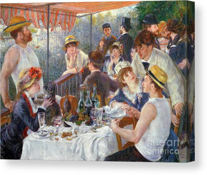 The Canvas Print featuring the painting The Luncheon of the Boating Party by Pierre Auguste Renoir