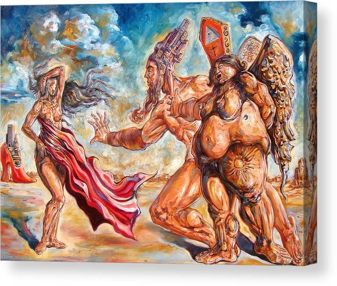 Surrealism Canvas Print featuring the painting The return of the original consciousness and the temptation of the fallen by Darwin Leon