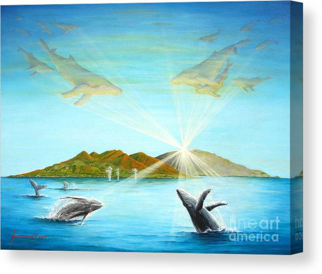 Whales Canvas Print featuring the painting The Whales Of Maui by Jerome Stumphauzer