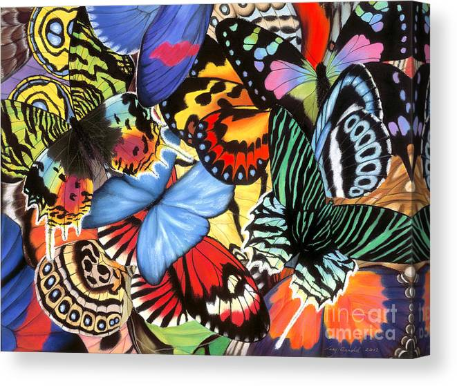 Butterflies Canvas Print featuring the painting Tropical Wings by Lucy Arnold