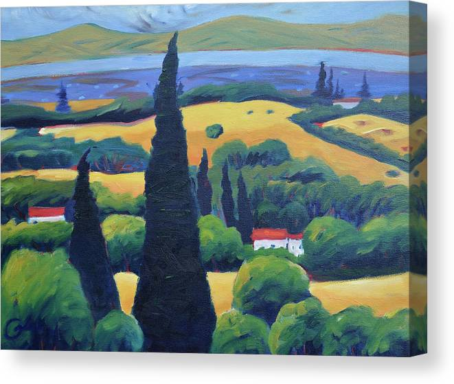 Tuscany Canvas Print featuring the painting Tuscan Pines and South Bay by Gary Coleman