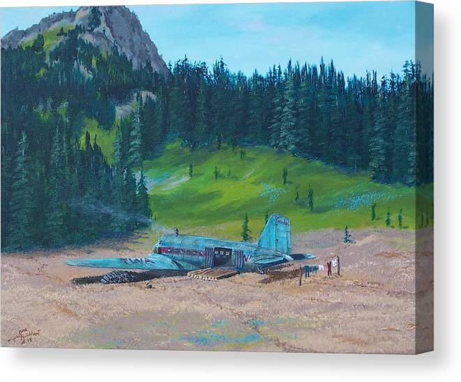 Landscape / Dc-3 Airplane Canvas Print featuring the painting TWA Mountaintop Cabin by Gene Ritchhart