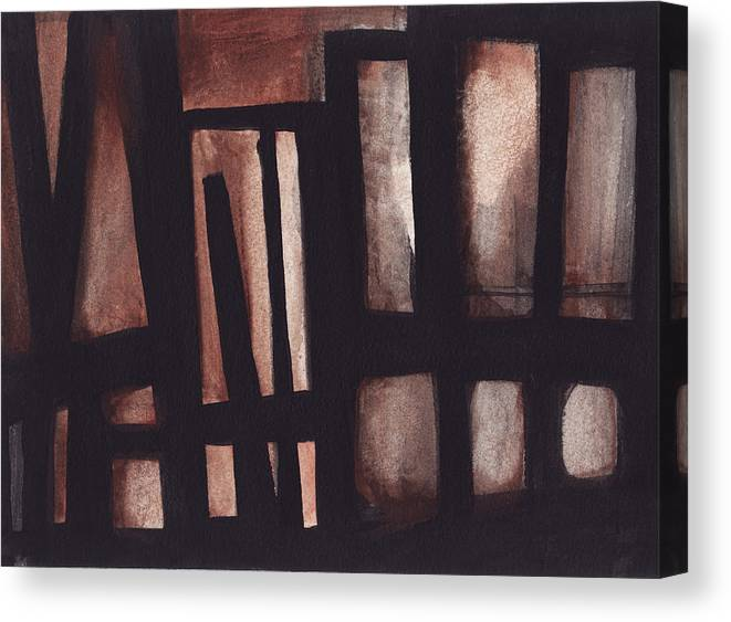 Industrial Canvas Print featuring the painting Untitled Industrial Building by Ron Erickson