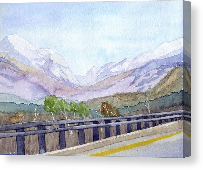 Franconia Notch Canvas Print featuring the painting View of Franconia Notch by Sharon E Allen