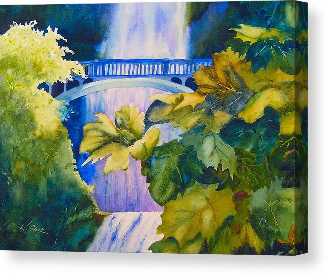 Waterfall Canvas Print featuring the painting View of the Bridge by Karen Stark