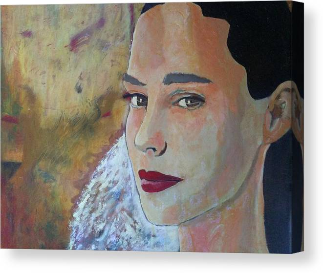 The Glow Of The Last Bit Of Light Fades She Turns To Look At Me And I Can Tell She Is At Peace. Canvas Print featuring the painting Warmth Of Heart by J Bauer